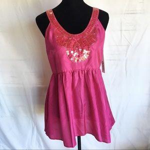 NWT DKNYC silk mini dress sequin pink DKNY